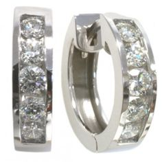 Diamond earrings with 1.40carat total diamond weight in 14k white gold