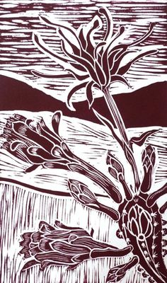"""Cactus Flower"" by Kate Heiss. Linocut on Paper, Subject: Flowers and plants, Illustrative style, From a limited edition of 5, Signed and numbered on the front, This artwork is sold unframed, Size: 27.99 x 38 cm (unframed), 11.02 x 14.96 in (unframed), Materials: linocut on 300g Somerset Printing Paper"