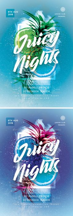 Juicy Night Party Flyer Design Template PSD. Download here: https://graphicriver.net/item/juicy-night-party-flyer/22048468?ref=ksioks