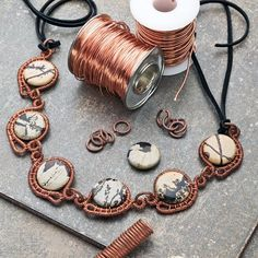 Coiled Wire Linked Necklace by Helen Driggs