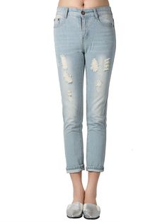 Distressed Ankle Jeans Cotton; Hand wash cold;Non-stretchable Material