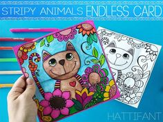 Another awesome Endless Card by Hattifant: Color and Craft our Stripy Animal Endless Card and then flip the card again and again to see all the animals!