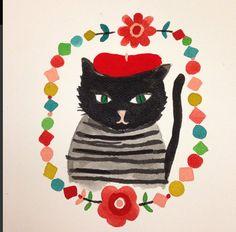 Cat Portrait by @carolyn_gavin He's so cute! #Blackcat