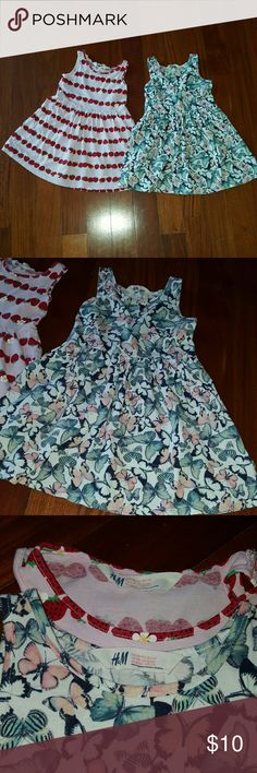 H&M TODDLER STRAWBERRY BUTTERFLY COTTON DRESSES Preowned. Excellent condition. H&M.  Toddler girl dresses bundle lot. Both size 2-4 years old. 100% COTTON.  You get both dresses 1-strawberry dress and 1-butterfly dress.  Great deal! H&M Dresses
