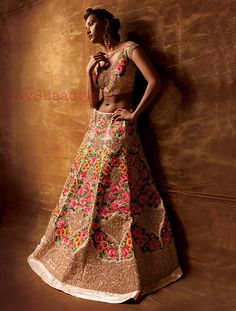 Indian Bridal Wear by Pallavi Jaikishan - Lehenga with floral embroidery