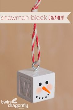 Snowman Block Ornament - these would be cute for baby's first christmas!