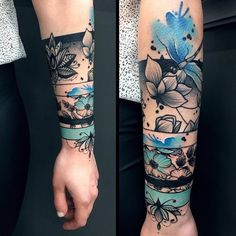 Not crazy about this design, but I really like the use of color -. - Not crazy about this design, but I really like the use of color – Diy Tattoo Project - Best Sleeve Tattoos, Sleeve Tattoos For Women, Forearm Tattoos, Body Art Tattoos, Tatoos, Wrist Band Tattoo, Arm Band Tattoo For Women, Deer Skull Tattoos, Colorful Sleeve Tattoos