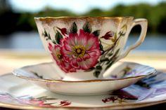 Adderley Dessert Set, Trio Teacup, Saucer and Salad Plate, Vintage Bone China Tea Cup 13850