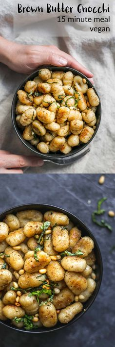 Gnocchi are pan fried in vegan brown butter and tossed with dried sage, toasted pine nuts, and thinly sliced caramelized garlic in this delicious 8-ingredient and 15-minute meal.