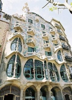 The Casa Batllo was designed by the architect Antoni Gaudi. It is located in Barcelona, Spain. Built between 1875 and 1877, it was also remodeled between 1904 and 1906. It was originally designed for a wealthy aristocrat, Josep Batlló. The design is very detailed and intricate, and marine life was a huge inspiration for some of the themes recurring throughout the exterior designs. #1A