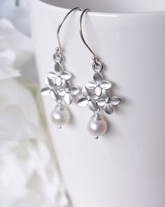 White Pearl Earrings for your White Summer Dress  by SarahOfSweden
