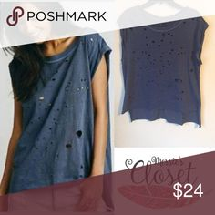 New FREE PEOPLE Destroyed Tommy Tee Brand new without tags! Blue color! Sold out! Free People Tops Tees - Short Sleeve