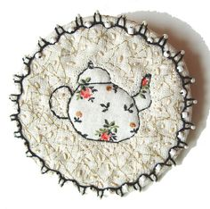 Round spring teapot brooch  embroidery artwork by BozenaWojtaszek, $90.00