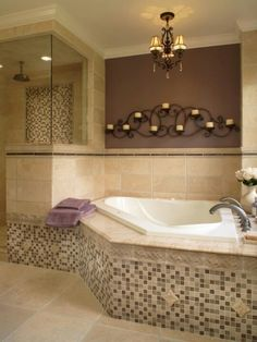 Really like this tile around the tub adds just a little color but not too much