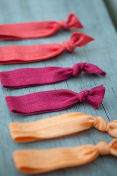 6 Fall Color Elastic Hair Ties  Autumn Fire by ThreeLittleBandits