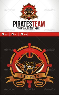 Pirates Team Logo Design Template Vector #logotype Download it here: http://graphicriver.net/item/pirates-team/4690340?s_rank=262?ref=nesto