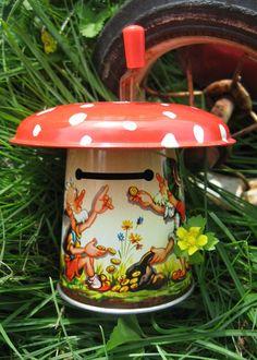 amanita muscaria mushroom tin toy