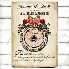 French Antique Style Ornate Frame Roses Bee Ephemera Large Instant Digital Download Printable Floral Vintage Graphic Transfer Image