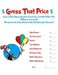 Dr Seuss Baby Shower Game by AllThingsParty on Etsy, $3.00