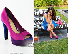 Lea Michele models for Candie's Spring Collection, January, 2012 Candie's Peep-Toe Platform High Heels - $41.99 Worn with: Candie's headband, Candie's dress