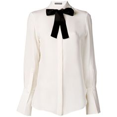 Alexander McQueen Pussy Bow Collar Shirt (£400) ❤ liked on Polyvore featuring tops, blouses, shirts, blusas, white, sheer blouse, white blouse, white bow blouse, long sleeve collared shirt and collared shirt