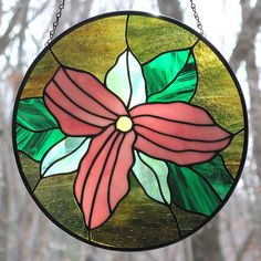 Stained Glass Trillium Pink Large Flowered Round Suncatcher