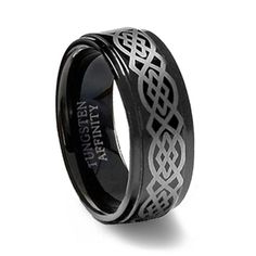 Black Tungsten Ring Brushed Laser Celtic  - This is the ring for Josh!
