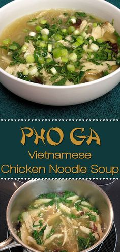 Pho is a traditional Vietnamese noodle soup originally made with beef. Pho Ga by Foodie Home Chef is the chicken version. Have leftover turkey from Thanksgiving? Use that instead of chicken. No matter how it's made, Pho Ga is enticingly aromatic & seriously delicious. I guarantee your whole family will love this comfort food! | Foodie Home Chef @foodiehomechef  #PhoGa #SoupRecipes #VietnameseRecipes #AsianFood #AsianRecipes #ChickenSoup #NoodleSoup #HealthyRecipes #ComfortFood…