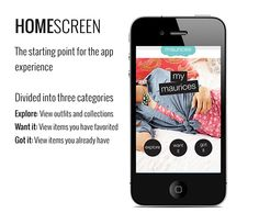 A mobile app design concept I made for maurices, a women's retailer and former client. The app features the ability to view outfits and collections, and add individual items to a wish list or digital closet. Social Media Strategist, Mobile App Design, Homescreen, How To Memorize Things, Retail, How To Get, Behance, Concept, Collections