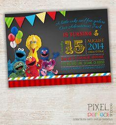 SESAME STREET Invitation, Sesame Street Birthday, Sesame Street Birthday Invitation, Sesame Street, Big Bird, Cookie Monster, Earnie, Elmo on Etsy, $80.00