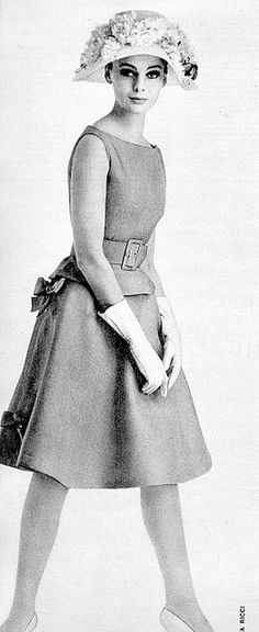 Model in linen summer skirt and belted top by Nina Ricci, Burda Moden, April 1962 | Flickr - Photo Sharing!