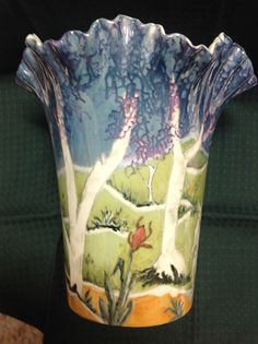 Jillian Varga Other side of vase. Vases, Glass Vase, Enamel, Porcelain, Pottery, Clay, China, Ceramics, Painting