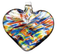 Heart of Glass Sunny Sky color hand blown Art Glass Ornament