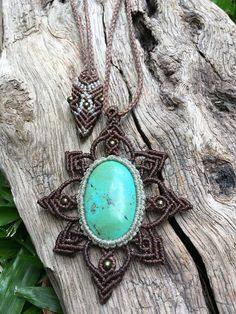 "This micro macrame necklace made in the beautiful macrame knot without any use of glue and wire. Turquoise is known as the ""master Healer,"" and is said to be the bridge between Heaven, Sky and the Earth. Many Native American cultures believe that Turquoise helps to connect the mind to the"