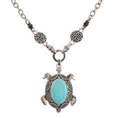 Silver Turquoise Sea Turtle Necklace Pendant Chunky Stone Nautical USA Seller #AccessoryLabel #Pendant