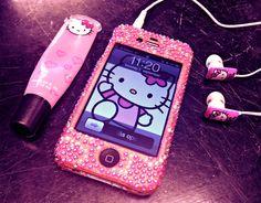 Cute hello kitty phone and headphones #hellokitty #sanrio