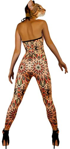 Bahamut Geometric catsuit psychedelic onesie optical by TAPT