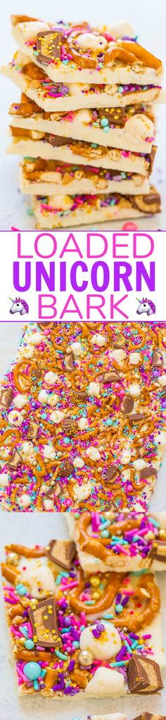 Loaded Unicorn Bark - Forget about that drink you missed out on and make this EASY white chocolate bark in 5 minutes! It's LOADED with pretzels, peanut butter cups, marshmallows, and sprinkles! Guaranteed to put a SMILE on everyone's face! Yummy Treats, Delicious Desserts, Sweet Treats, Yummy Food, Tasty, Candy Recipes, Sweet Recipes, Dessert Recipes, Easter Recipes