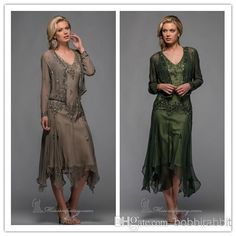 Wholesale Long Prom Dresses - Buy Elegant 2014 Mother of the Bride Groom Lace Dresses For Wedding A Line With Suits V Neck Chiffon Zipper Tea Length, $126.2   DHgate