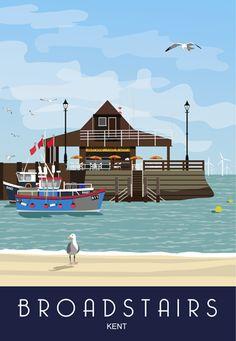 Broadstairs, Kent by Ryan Ambrose Posters Uk, Railway Posters, Poster Ads, Poster Prints, Beach Posters, British Travel, British Seaside, Broadstairs Kent, Voyage