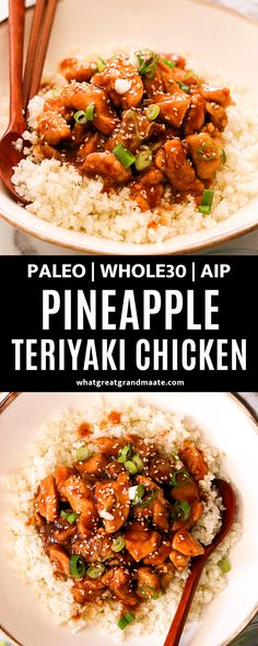 This Whole30 pineapple teriyaki chicken recipe is a quick and healthy weeknight meal, only sweetened with pineapple that's blended in the addicting sauce. It comes together in 15 minutes and you'll never get takeout again! #whole30 #paleo #glutenfree #teriyakisauce #sugarfree #aip #grainfree #chickendinner #weeknightmeal #autoimmuneprotocol #quickrecipe Primal Recipes, Real Food Recipes, Cooking Recipes, Healthy Recipes, Quick Recipes, Healthy Foods, Healthy Life, Chicken Teriyaki Recipe, Chicken Recipes