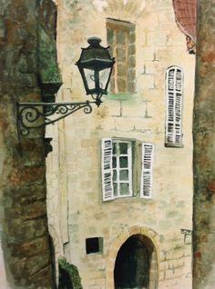 Watercolour scene in France
