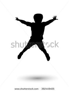 Happy boy jumping. Holiday Digital illustration. Silhouette, jump one boy isolated on white background. Children preschool, Sport. For Art, Print, web, Fashion, textile, craft graphic design. - stock photo