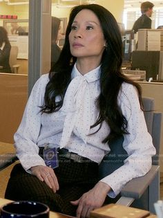 Joan's white neck bow blouse on Elementary.  Outfit Details: https://wornontv.net/57328/ #Elementary