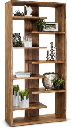 Rustikaler eingangsbereich Medium Brown Solid Wood Bookcase – Brownstone Body Jewelry and Today's St