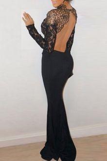 Lace Spliced Open Back Black Fishtail Dress