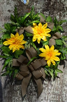 Spring Wreath with Greenery and Yellow by SeraphicalDesigns, $51.99 change to sunflowers and do fall leaved in background