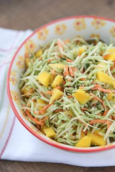 This Tangy Mustard Broccoli Slaw Salad with Mango is the perfect addition to any spring or summer meal! Serve with burgers, chicken or fish.