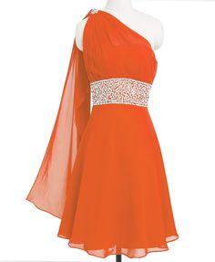 Fashion Plaza Chiffon Ribbon One-shoulder Bridesmaid Homecoming Party Dress D0172 | Amazon.com
