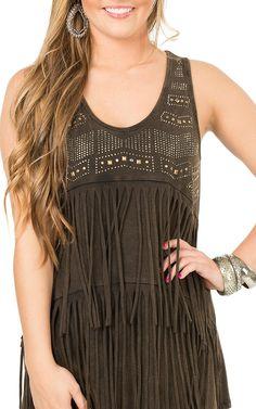 Anne French Brown Mineral Wash with Silver Embellishments and Fringe Sleeveless Top | Cavender's